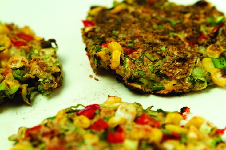 Zucchini, Corn and Red Pepper Pancakes [Vegan]   One Green Planet