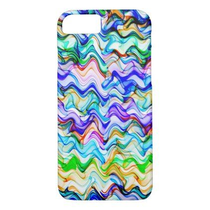 Cool Multicolored Wavy Zig Zag Pattern iPhone 8/7 Case - black gifts unique cool diy customize personalize