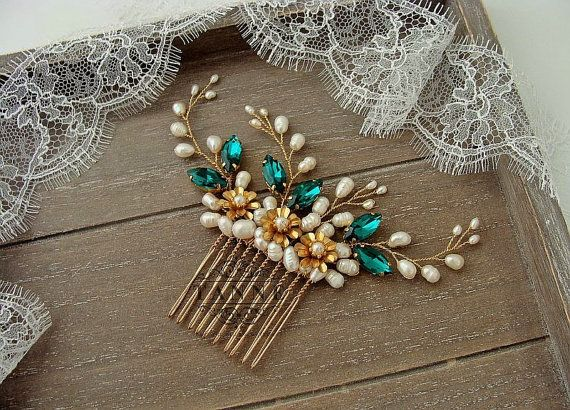 Emerald Green Hair Comb Pearl Hair Comb Emerald by TanneDesign