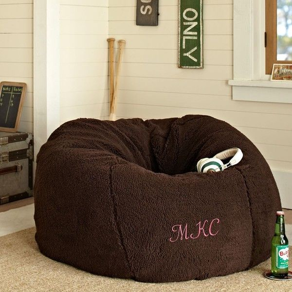 PB Teen Sherpa Fleece Chocolate Beanbag, Slipcover + Insert, Small at Pottery Barn Teen - Bean Bag Chairs - featuring polyvore, home, furniture, chairs, accent chairs, brown, bean bag, pbteen furniture, woven furniture, slipcover furniture and brown furniture