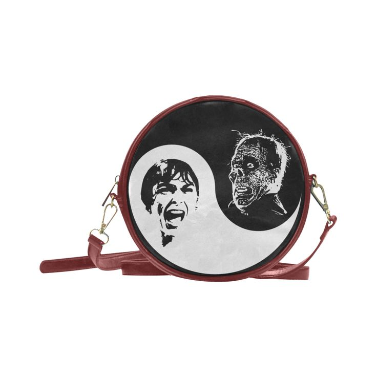 Yin Yang Horrorshow Round Messenger Bag (Model 1647) @artsadd  - Save 20% Off Discount Coupon Code: ARTSADD  Free Worldwide Shipping.#accessories #retro #horror #halloween #yinyang #psycho #popart #scream #coolbags #fashion #artsadd #bags #handbags #hitchcock #horrorfanart #horrorfans