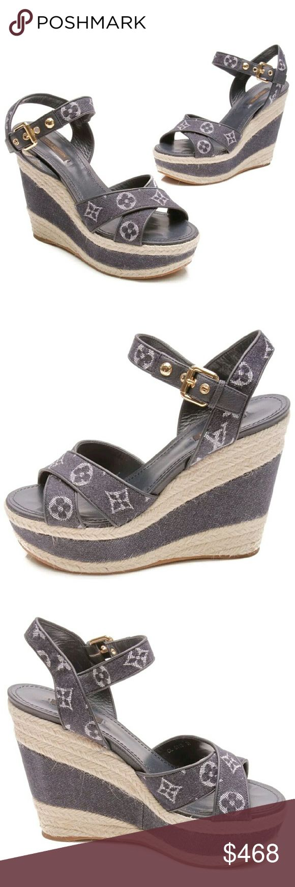 """Louis Vuitton Formentera Denim Monogram Wedge 39 Authentic Louis Vuitton Blue Denim Monogram Formentera Wedge Espadrille Sandals. Blue leather and goldtone adjustable buckle with monogram denim straps around/behind ankle and crossing over toes. Woven natural rope and blue denim cover the 5"""" wedge. Blue leather footbed with rubber sole carved with LV within.  Made in Italy.  NOTE: This shoe runs small. Best fits a US 8 - 8 1/2.  I wear a US 9 and they are tight. New without tags or box. Never…"""