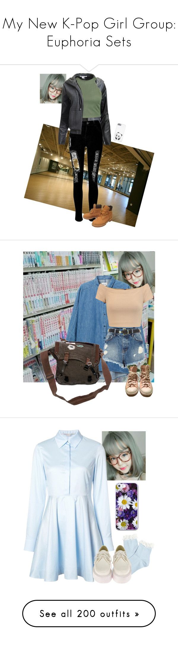 """My New K-Pop Girl Group: Euphoria Sets"" by fangirlkaly8102 ❤ liked on Polyvore featuring Sans Souci, WithChic, Boohoo, Timberland, Monki, Alice + Olivia, River Island, Converse, STELLA McCARTNEY and Forever 21"