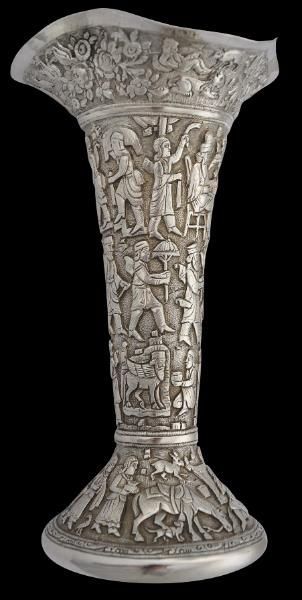 Parsee Parsi Muktad Vase India: Rare Parsee (Parsi) Memorial Muktad Chased Silver Vase Bombay, India; circa 1900 Muktad vases are used during the Parsee ceremony of muktad, the annual prayers for the dead, celebrated in the last ten days of the Parsee calendar.