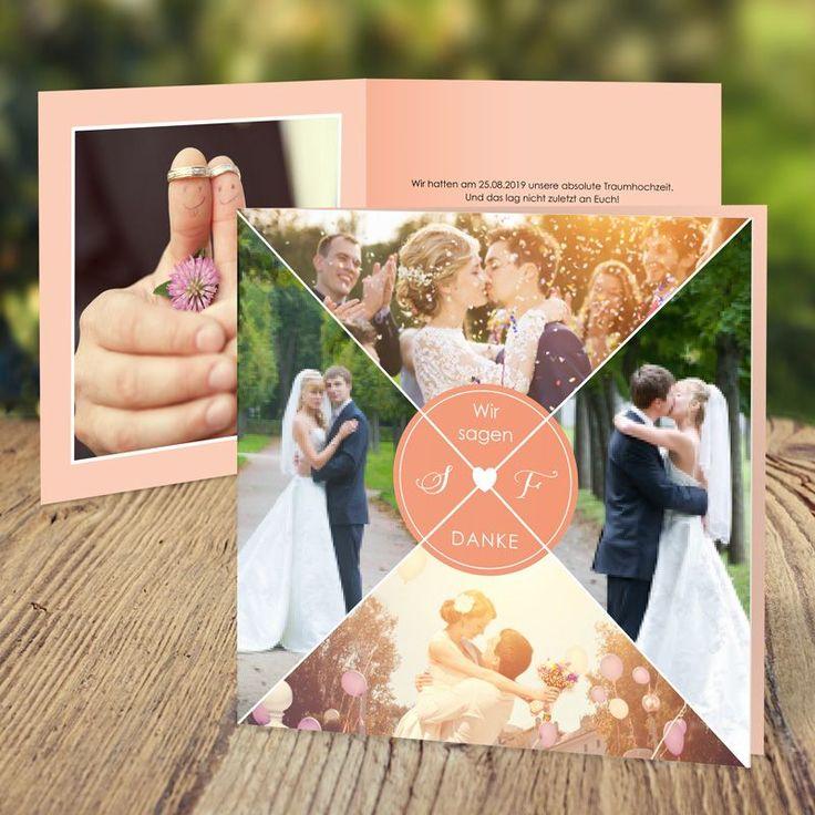 """Dankeskarte Hochzeit """"wir ZWEI"""" in Apricot: hier kaufen"""