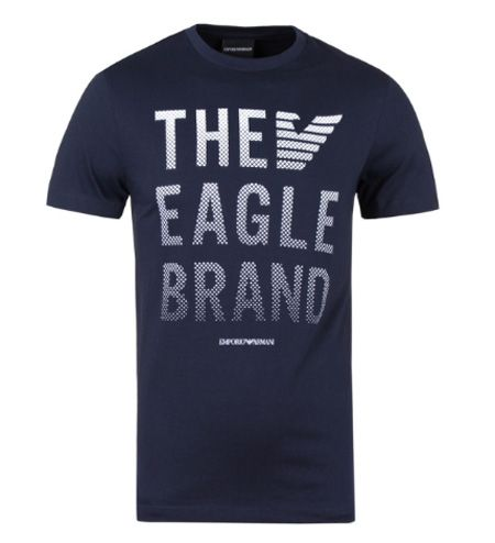 Regular Fit Navy The Eagle Brand Logo Tee By Emporio Armani Comes