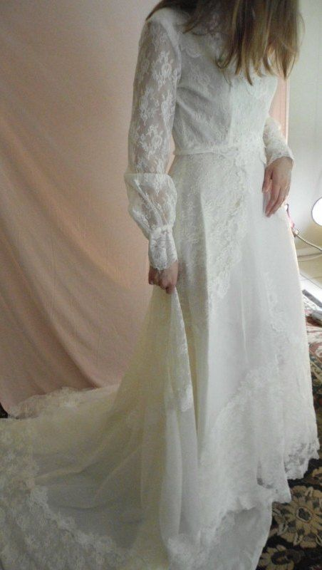 ヴィンテージウェディングドレス 74633981 70s ビクトリアトレーン - ヴィンテージウエディングドレスサロン -Barbara