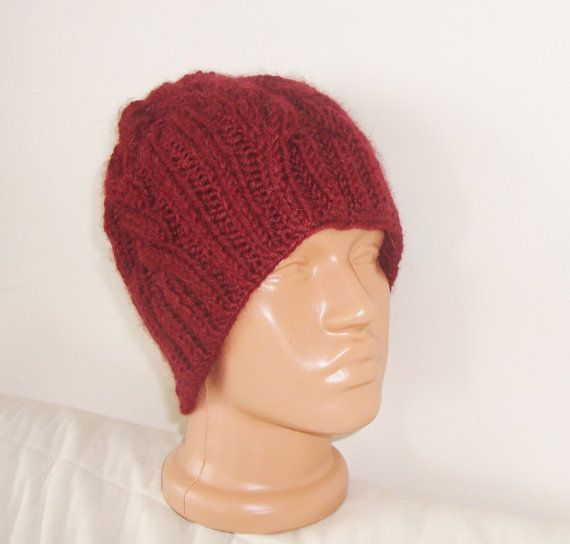 Hand knit hat  Cable knit hat in Maroon wooly hat by earflaphats, $40.00