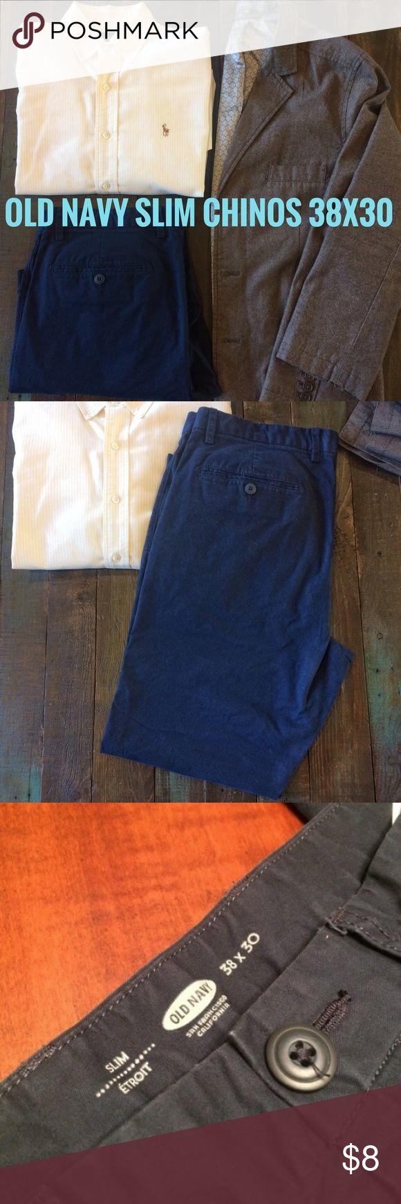 Men's Old Navy Slim Chinos - 38x30 Pair of Men's Old Navy Slim Chinos in navy - 38x30 Old Navy Pants Chinos & Khakis
