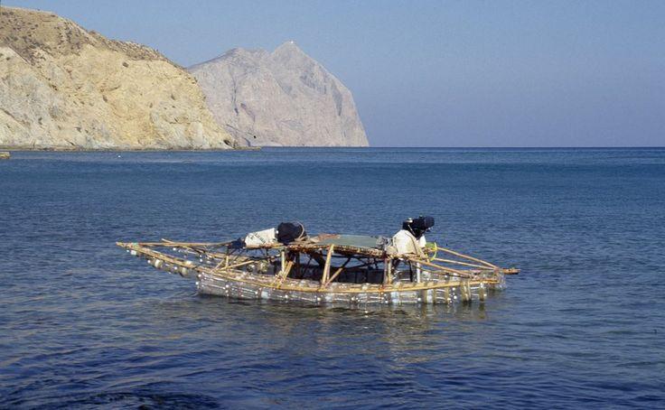 Cane and pet bottle catamaran at Katsouni beach <3...long time ago!