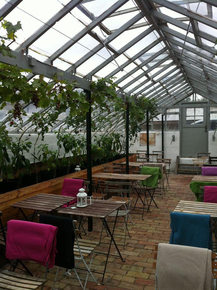 Malmo, Sweden. Garden + Bakery + Greenhouse seating.