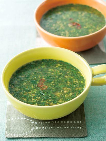 モロヘイヤ:モロヘイヤの温スープ:旬の食材 ヘルシーレシピ:日経 ...