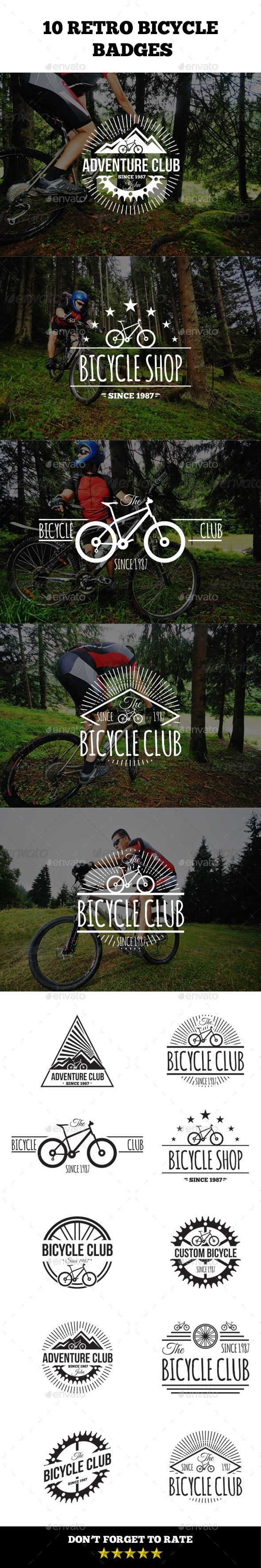 Retro Bicycle Badges Template Vector EPS, AI #design Download: http://graphicriver.net/item/retro-bicycle-badges/14385045?ref=ksioks
