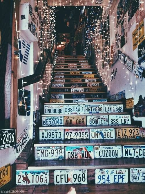 If you don't have stairs in your room (I doubt most people do) then you can border your door and closet with license plates. Idk but I think it looks really cool.