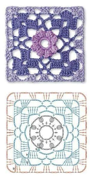 Crochet granny flower diagram. by Lensia