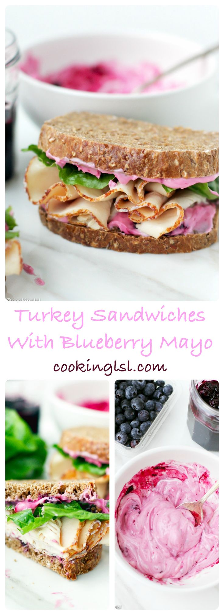 Slices of dense pumpernickel bread with light, slightly sweet blueberry mayo, oven roasted turkey breast and some fresh lettuce. Turkey Sandwiches with Blueberry Mayo