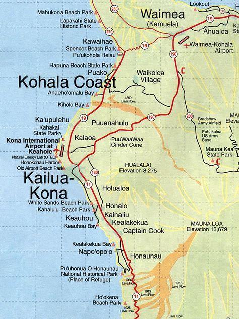 Kona Hawaii Map | root maps map of kona coast hawaii my son just