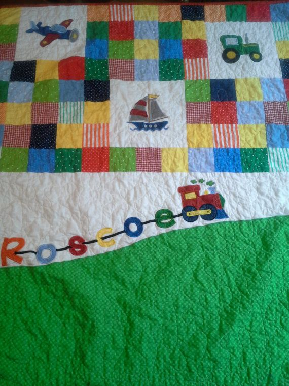 Vehicle Boy Crib Custom Pieced Appliqued Embroidered Toddler  Boy Quilt Baby Gift Gender Reveal Vehicle Patchwork Playmat Boy Crib Bedding