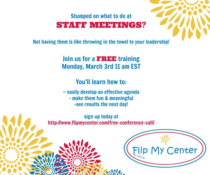 42 best Training for Child Care Center Directors images on - staff meeting agenda