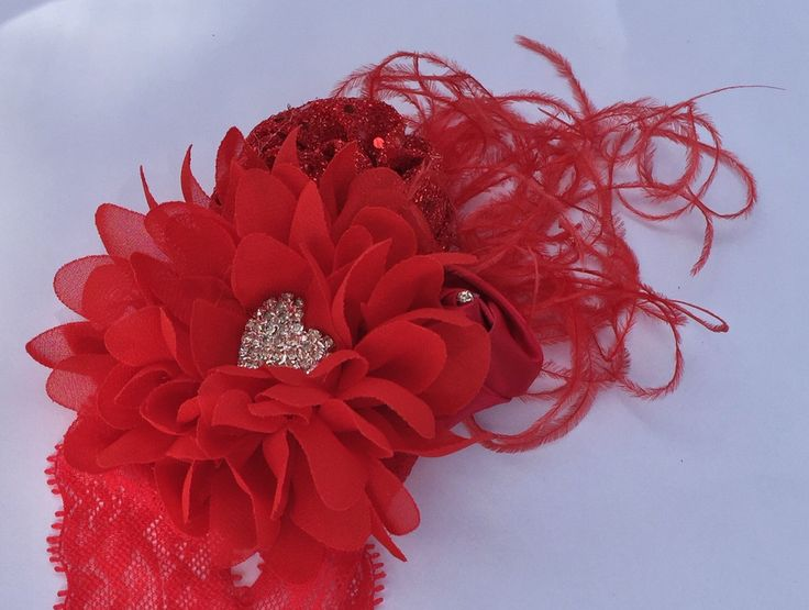 Red Over The Top Couture Headband, Baby, Toddler and Adult Flower Headband, Baby Girl Boutique Headband, Flower Girl Headband, Photo Prop by SundayChildBoutique on Etsy https://www.etsy.com/listing/495953368/red-over-the-top-couture-headband-baby
