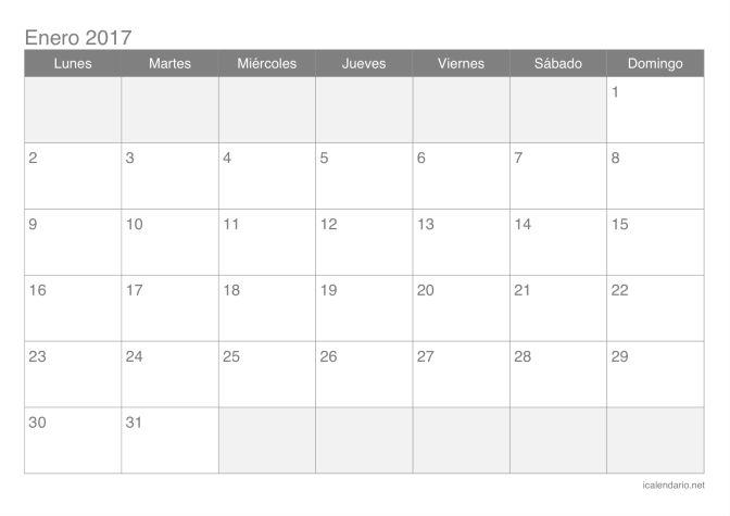 Calendario 2017 por meses