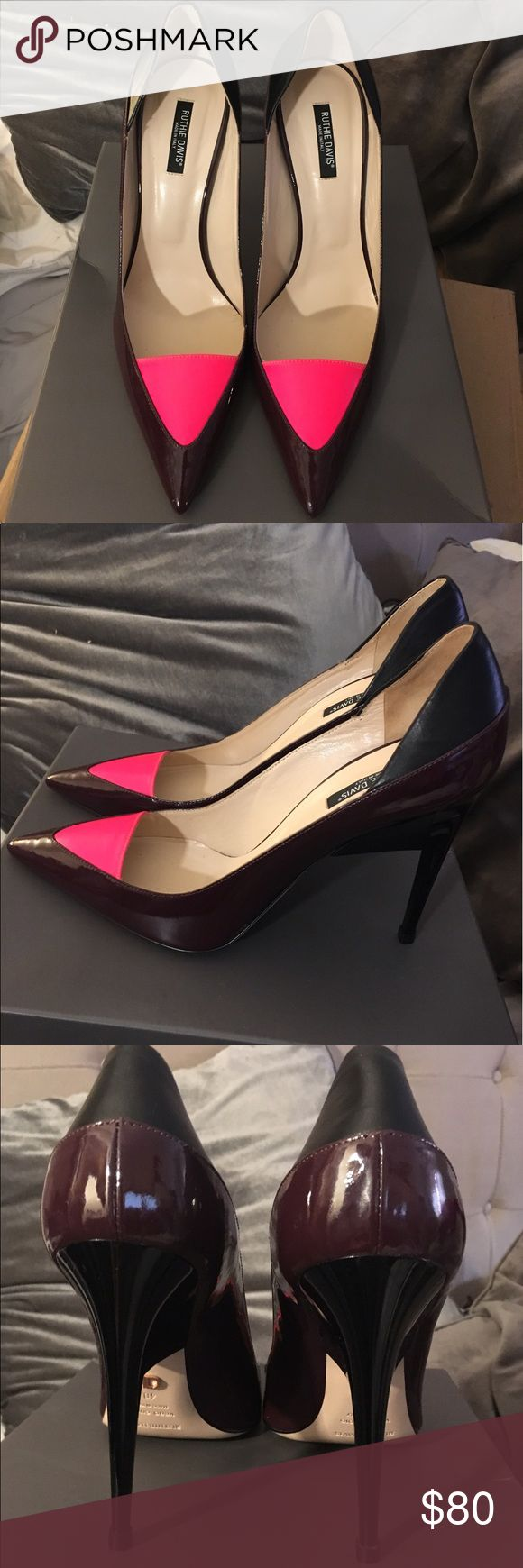 Ruthie Davis  leather pointed-toe pumps Burgundy multicolor leather Ruthie Davis pointed-toe pumps, resin heels. Gently used. Very small tear on right shoe (shown in image). Ruthie Davis Shoes Heels