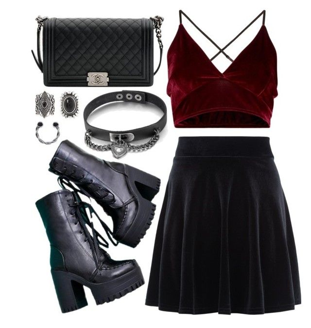 """""""~ Let's play a game of Russian Roulette, I'll load the gun, you place the bets, tell me who will make it out alive ~"""" by flowersoflife ❤ liked on Polyvore featuring New Look and Chanel"""