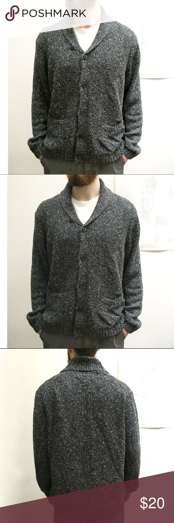 St. John's Bay Men's Shawl Collar Cardigan Sweater Men's Cardigan Sweater in cool gray and white marl yarn with reddish/orange neps. Has pockets. Size large. Gently used, only worn a few times. No signs of wear. 68% acrylic, 27% cotton, 5% wool. St. John's Bay Sweaters Cardigan