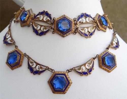 Antique Blue Czech Glass Enamel Necklace Bracelet Set