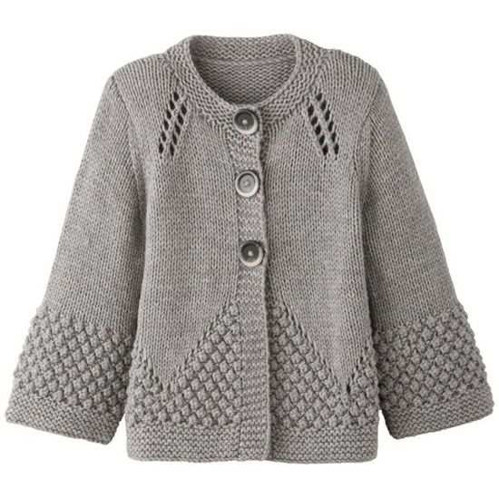 Beautiful knit cardigan with bobbles. Cute knitwear design unique look