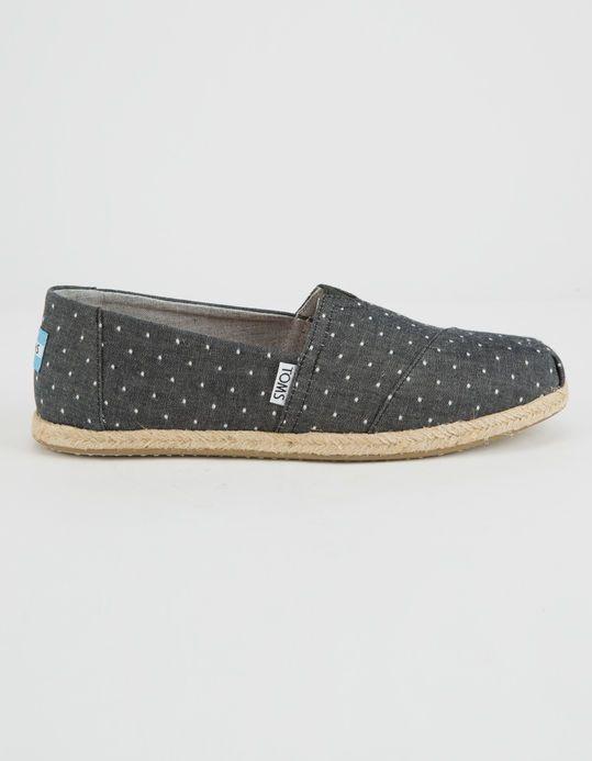 e51e3a4317a TOMS Black Dot Chambray Womens Classic Slip-Ons