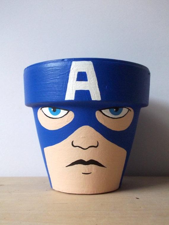 Captain America Avengers Marvel Superhero Painted by GingerPots, $16.00