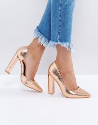 Public Desire Rose Gold Block Heel Court Shoes