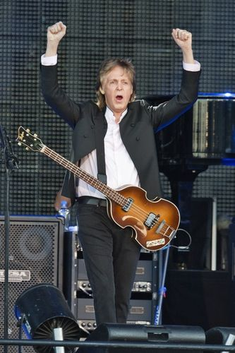 Paul McCartney rocked out onstage at the Lollapalooza Music Festival in Chicago on Friday, July 31.