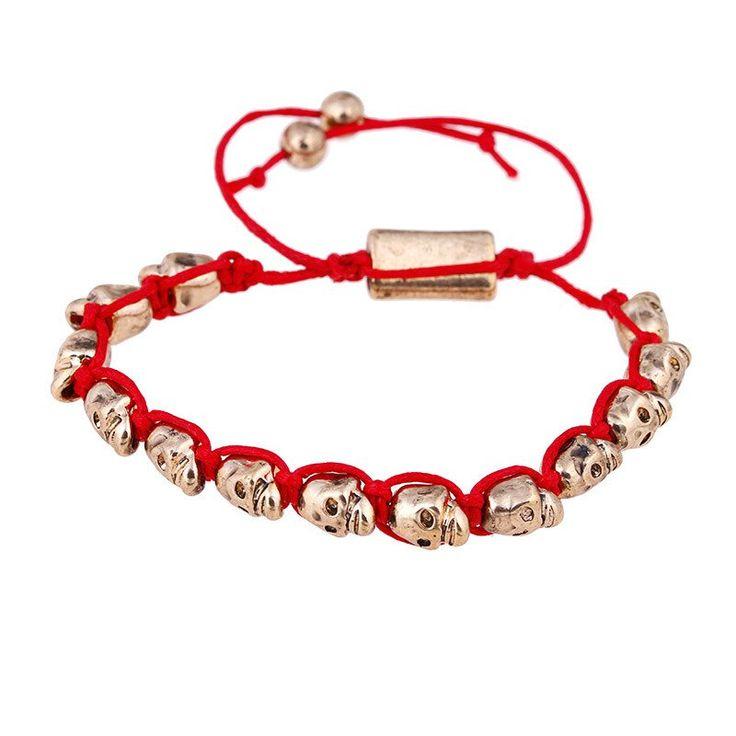 Vintage Gold PSkull Bead Bracelet Charm Red Thread String Woven Bracelets For Men Women Friendship Pulsera Calavera Jewerly