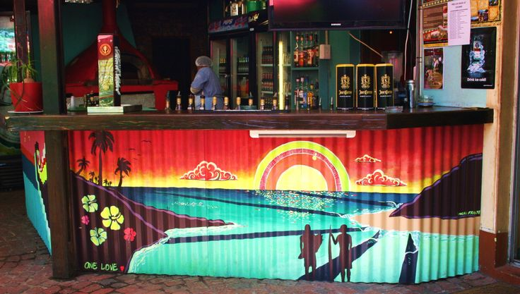 Mural on the bar at Cocomo Restaurant in Wilderness, South Africa.