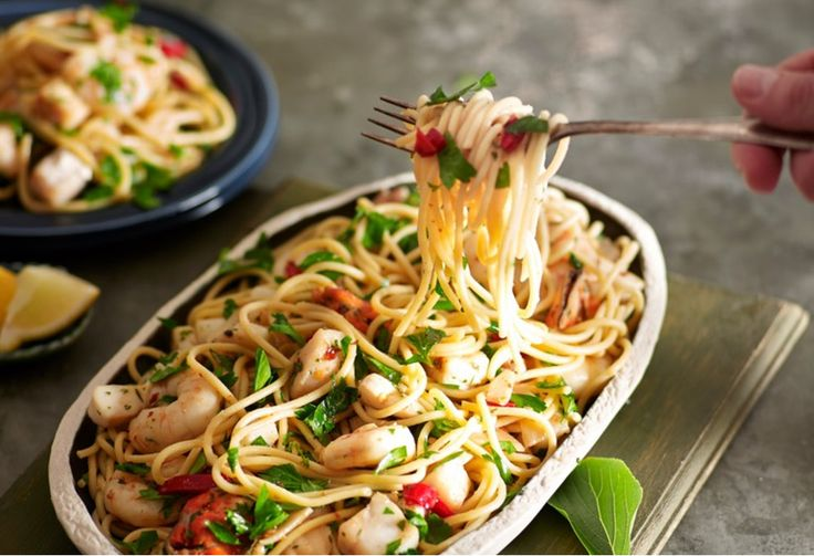 A low-fat chilli seafood spaghetti is perfect for midweek entertaining. Try replacing the marinara mix with raw, peeled prawns for a spin on this tasty pasta.
