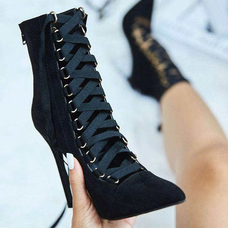 Ribbon Lace up Pointy Stiletto Booties - Multiple colors. Lace Up Heel  BootsBlack ...