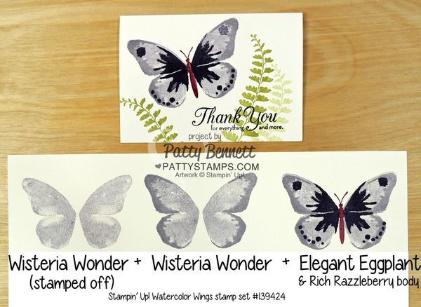 Color combo suggestions for Watercolor Wings butterfly stamp set from Stampin' Up! for handstamped note cards.