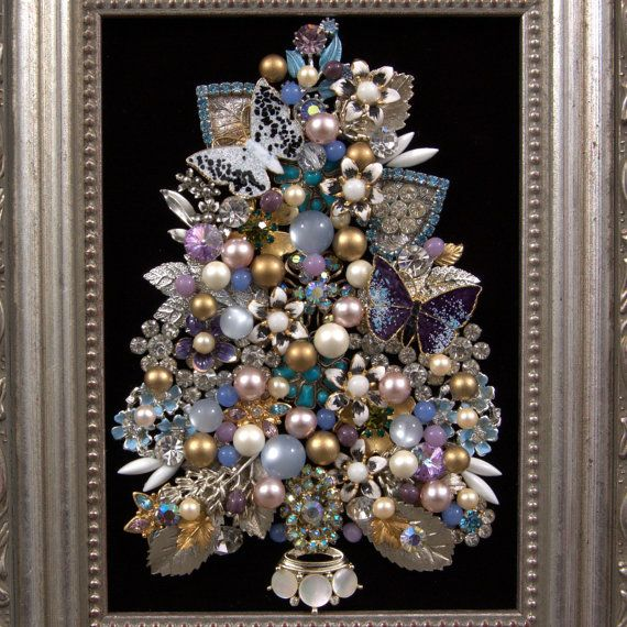 Gorgeous Framed Vintage Jewelry Christmas Tree by Momthrewitaway
