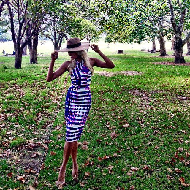 Erin Holland.. Wearing Kookai dress, with Third Stone hat..