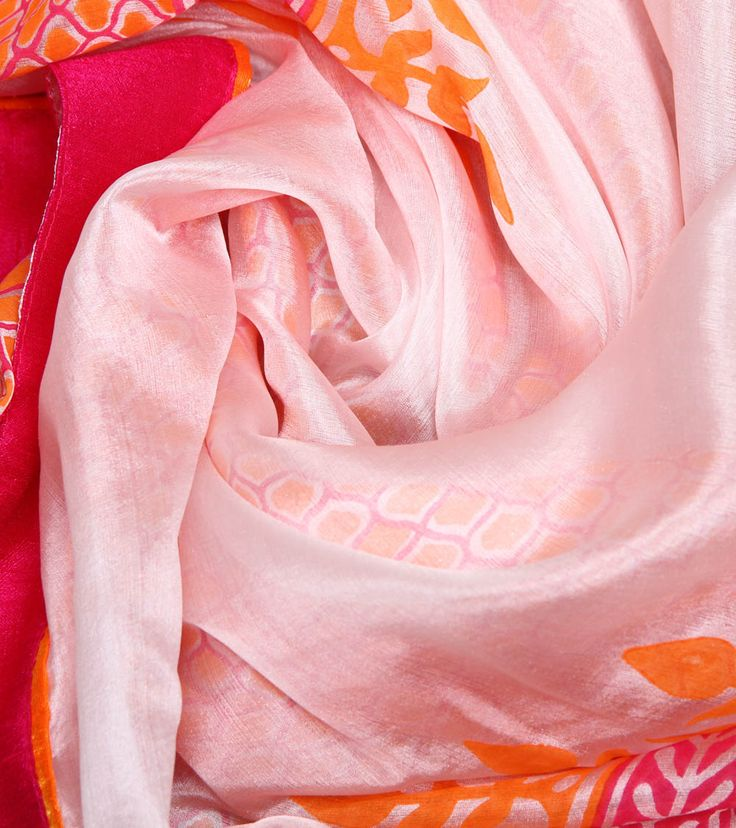 Multicoloured Pure Silk Block Printed Dupatta