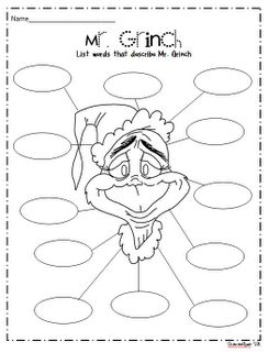 Grinch Activity Pages | Grinch Personality Web (could be used to describe the Grinch at the ...