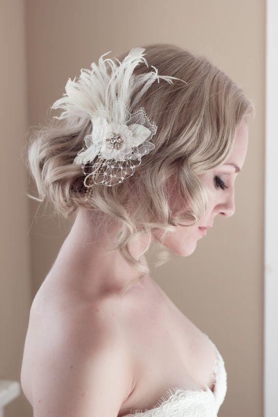 Estilo vintage de encaje de novia tocado con por veiledbeauty, $189.00