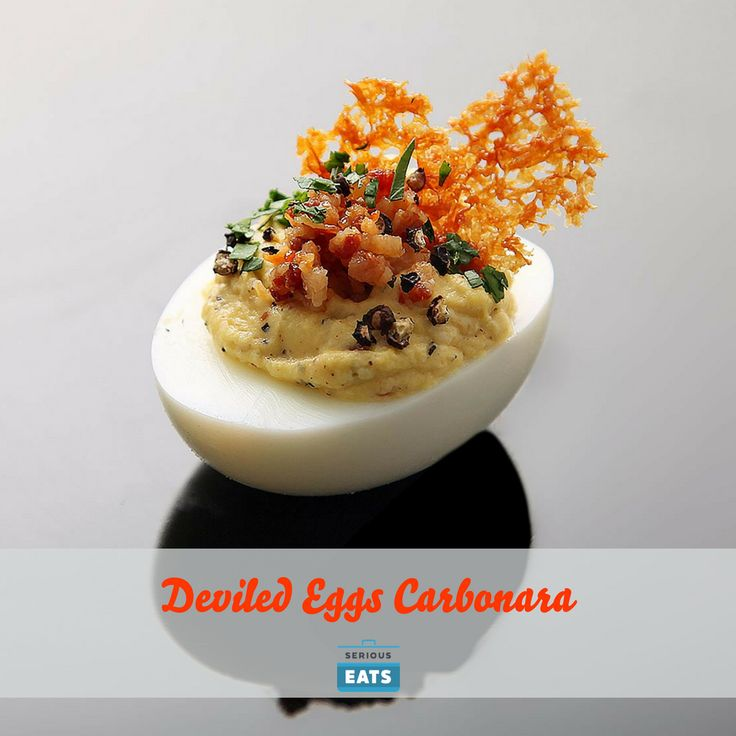 These deviled eggs with crispy pancetta, parmesan, and plenty of black pepper take their inspiration from spaghetti carbonara.