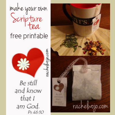 How to make your own Scripture tea set. Includes a FREE printable for Scripture tea tags- perfect for Mother's Day!