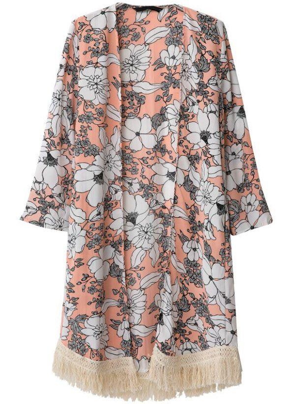 Kimono Vintage floral manga larga-naranja EUR€23.23