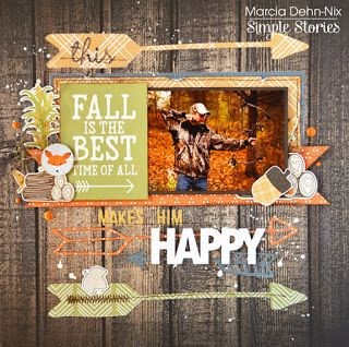 This Makes Him Happy - Scrapbook layout created with the Simple Stories Hello Fall collection and JustNick Studios Arrows 2 digital cut file.