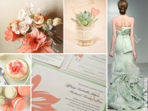 coral and sage green wedding colors and inspiration