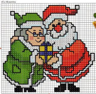 Mr & Mrs Claus • this is absolutely gorgeous when stitched. I made this into a little pillow for 2014 Christmas.